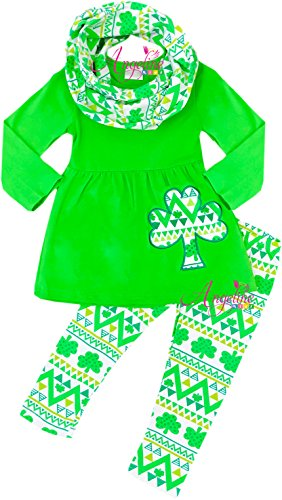 Price comparison product image Angeline Girls ST Patrick's Day Green Aztec Shamrock Clover Embroidery Tunic Scarf Set 18-24