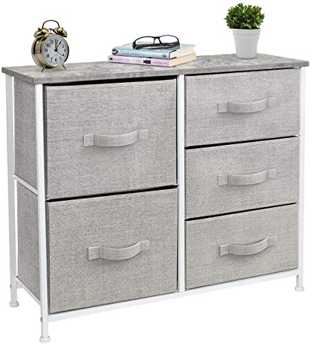 Sorbus Dresser with 5 Drawers - Furniture Storage Tower Unit for Bedroom, Hallway, Closet, Office Organization - Steel Frame, Wood Top, Easy Pull Fabric Bins (Gray)