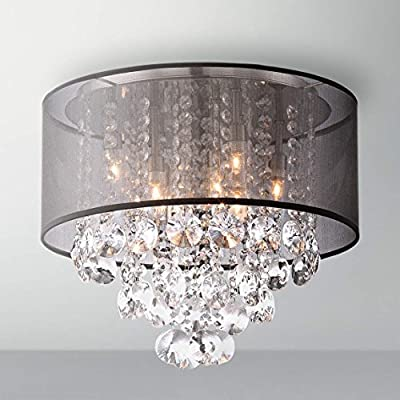 "Saint Mossi Crystal Rain Drop Chandelier Modern & Contemporary Ceiling Pendant Light 6 E12 Bulbs Required H12"" X D16"""