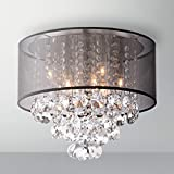 Saint Mossi Modern K9 Crystal Raindrop Chandelier Lighting Flush mount LED Ceiling Light Fixture Pendant Lamp for Dining Room Bathroom Bedroom Livingroom 6 E12 Bulbs Required H12'' X D16''