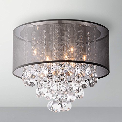 Saint Mossi Modern K9 Crystal Raindrop Chandelier Lighting Flush mount LED Ceiling Light Fixture Pendant Lamp for Dining Room Bathroom Bedroom Livingroom 6 E12 Bulbs Required H12'' X D16'' by Saint Mossi