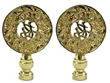 Royal Designs Good Fortune Oriental Motif Lamp Finial for Lamp Shade- Polished Brass Set of 2