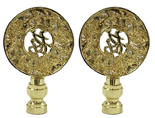 Royal Designs Good Fortune Oriental Motif Lamp Finial for Lamp Shade- Polished Brass Set of 2 ()