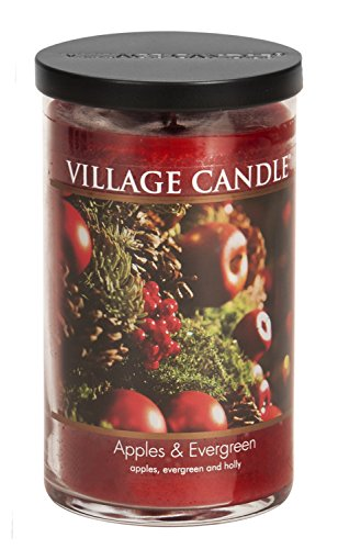 Village Candle Apples & Evergreen 24 oz Glass Tumbler Scented Candle, Large