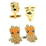 Outlander Gear Marvel Comics 2 Pairs Ironman Gold & Groot Superhero 2018 Movie Mens Boys Cufflinks