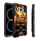 Samsung Galaxy S8 Plus | S8 Plus Holster Case | SM-G955 Case by Untouchble [Heavy Duty Clip] Dual Layer Rugged Hybrid Armor [Kickstand] [Swivel Belt Holster Clip] - Skull on Fire