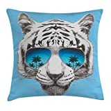 Ambesonne Animal Throw Pillow Cushion Cover by, Hand Drawn Portrait Tiger with Mirror Sunglasses Palm Trees Reflection, Decorative Square Accent Pillow Case, 18 X 18 Inches, Grey Sky Blue Dark Blue