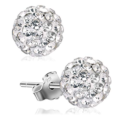 UHIBROS Women 925 Sterling Sliver Stud Earrings Round Clear Cubic Zirconia Hypoallergenic Ear Studs