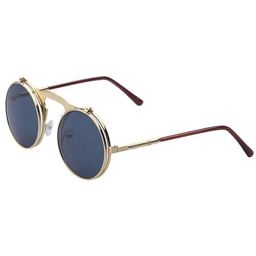 Highdas cerchio del metallo degli Occhiali Da Sole degli Uomo dell'annata flip Fino Steampunk occhiali rotondi Donna Goggles