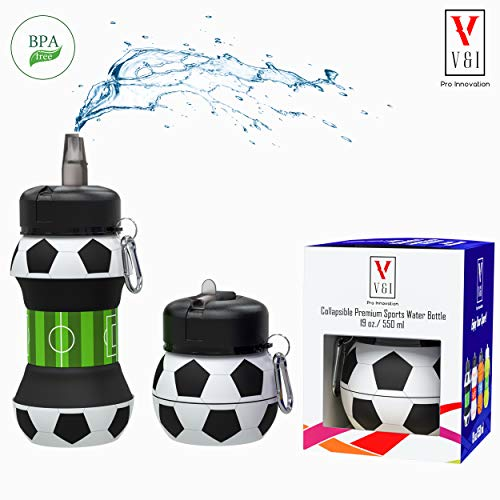 V V&I PRO INNOVATION Kids Sports Water Bottle Collapsible Basketball Baseball Tennis Soccer Ball Shaped Design Reusable 19 oz Drinking Cup Leak Proof Shockproof Squeezable Compact Travel Jug (Soccer)
