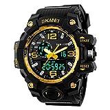 Skmei Analogue-Digital Multifunctional Outdoor Sports Dual Time Golden Dial Men's & Boy's Watch