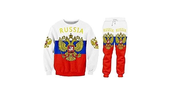 Nxddggacs Conjuntos para Hombres Rusia Bandera Cremallera Sudadera ...