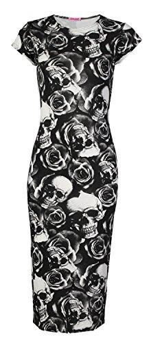 Fast Rose Rose Fashion Robe Lopard Cap Femmes Crane Bodycon Crane Des Midi Imprime Manches rrY7g