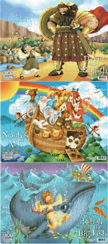 Noah's Ark, Jonah & the Big Fish, David & Goliath - Set of 3 40 Piece Puzzles