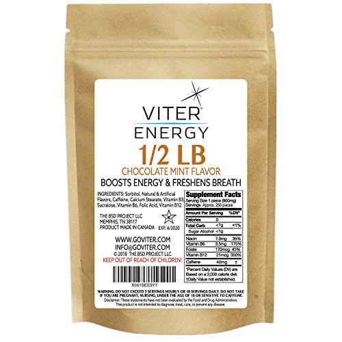 Viter Energy Caffeinated Mints – 40mg Caffeine & B-Vitamins Per Powerful Sugar Free Mint. Boost Energy, Focus & Fresh Breath. 2 Pieces Replace 1 Coffee (Chocolate Mint, 1/2 LB Bulk (Mints Only))