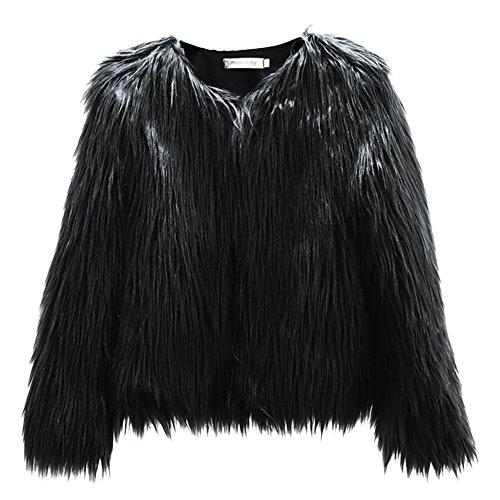 Mujeres Invierno Cálido Abrigo Corto Mujer Ropa Abrigo de piel sintética coreana lavar lana corto abrigo elegante chaqueta de manga larga, verde oscuro, Small Negro