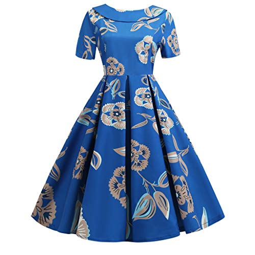 Dresses Party Dresses Vintage Dresses Swing Stretchy Dresses Fashion Doll Collar Dress Polka Dot Print Back Bowknot Hepburn Party Dress Women (6,13- Blue) ()
