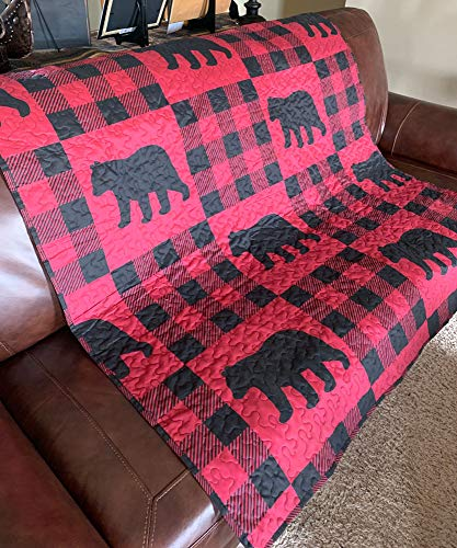 Virah Bella Buffalo Plaid Rustic Black Bear Quilt Throw Blanket (Red, Black)