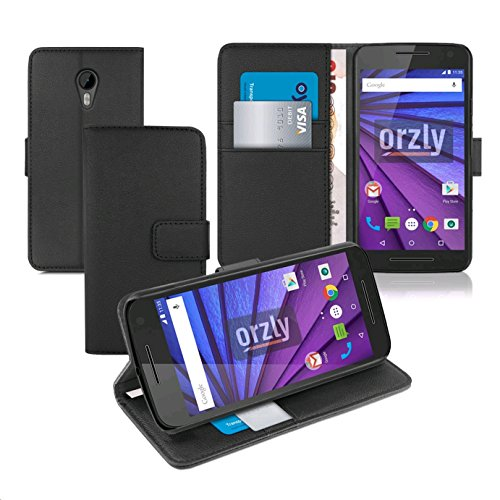 Orzly® - Multi-Functional Wallet Stand Case for MOTO G 3 SmartPhone (MOTO G 3rd Gen / Gen3 / 3rd Generation / 2015 Model) - Wallet Style Phone Case with Integrated Stand in BLACK