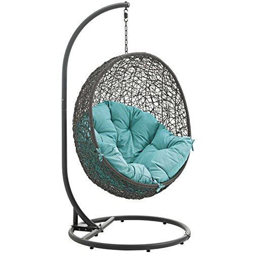 Modway LexMod EEI-2273-GRY-TRQ Hide Outdoor Patio Swing Chair, Gray Turquoise For Sale