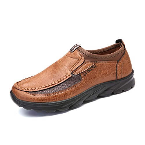 Shoes Men Casual Flat (Gracosy Men's Slip-On Loafers, Leather Boat Flats Shoes Men's Casual Walking Shoes Outdoor Non-Slip Sneakers Dark Brown 10.5 D(M) US)