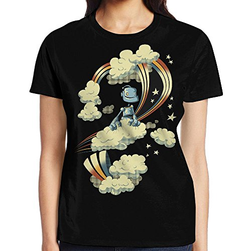 Flying Robot Comfy Printed Casual T-Shirt Tee Tops For Womens - Flying Machine Warcraft
