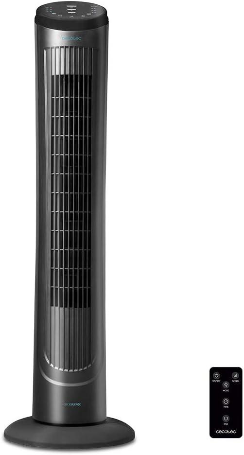 Cecotec Ventilador de Torre ForceSilence 9090 Skyline. 40'' (102cm) de Altura, Oscilante, Motor de Cobre, 3 Velocidades, Temporizador 7,5 Horas, Mando a Distancia, 45W