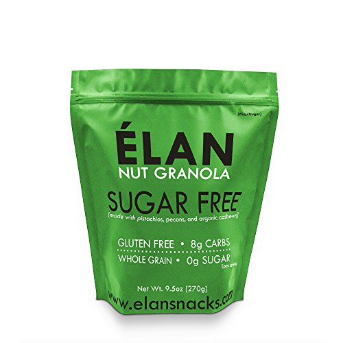 - ELAN Diabetic Cinnamon Pecan Muesli, Sugar Free Low Carb Cereal, No Sugar Added Granola, Organic Unsweetened Breakfast Snack Food (9.5 Ounce Travel Bag)