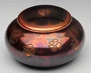 100's of Urns & Memorials for Dogs and Cats - Urn - Milano Raku Paw Print Series - For Pets 71 to 100 lbs.
