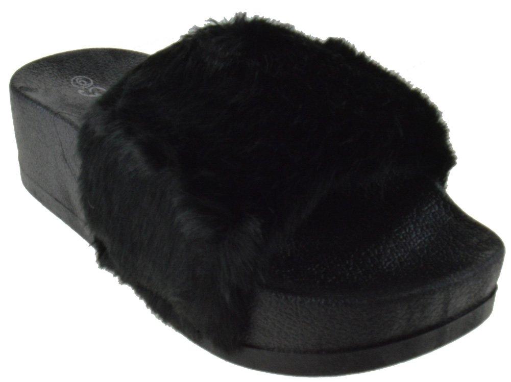 Lucky 28 Women Faux Fur Softy Elevated Platform Slip On Slider Sandals Black 7
