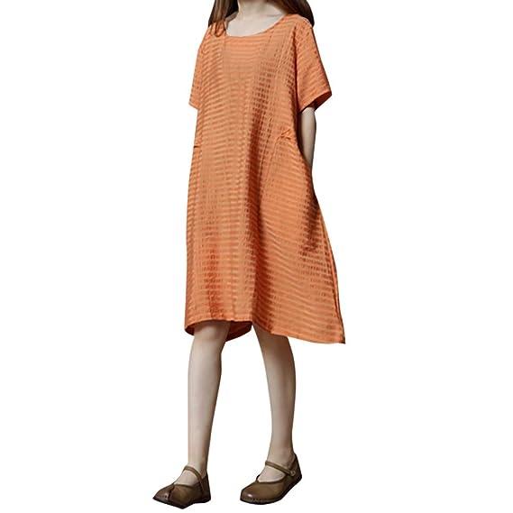 VEMOW Faldas Midi Vestido de Rayas y Rayas Sueltas de algodón y ...