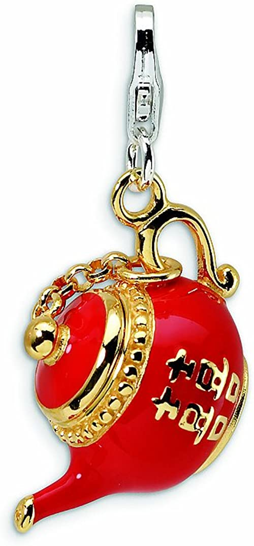 Beautiful Sterling silver 925 sterling Sterling Silver 3-D Enameled Saxophone w//Lobster Clasp Charm