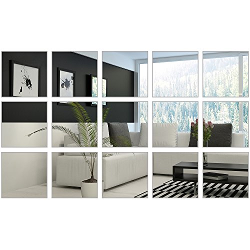 BBTO 6 x 6 Inches Mirror Sheets Square Mirror Decals Self Adhesive Mirror Tiles Non-Glass Mirror Stickers, 15 Pieces (Sticker Mirror Wall Tiles)