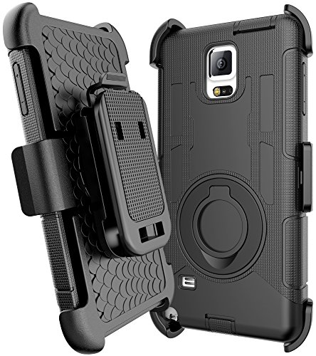 E LV Galaxy Note 4 Case Holster Case Cover - Dual Layer Armor Defender Protective Case Cover with kickstand and Belt Swivel Clip for Samsung Galaxy Note 4 Case with 1 Stylus and 1 Screen Protector - BLACK
