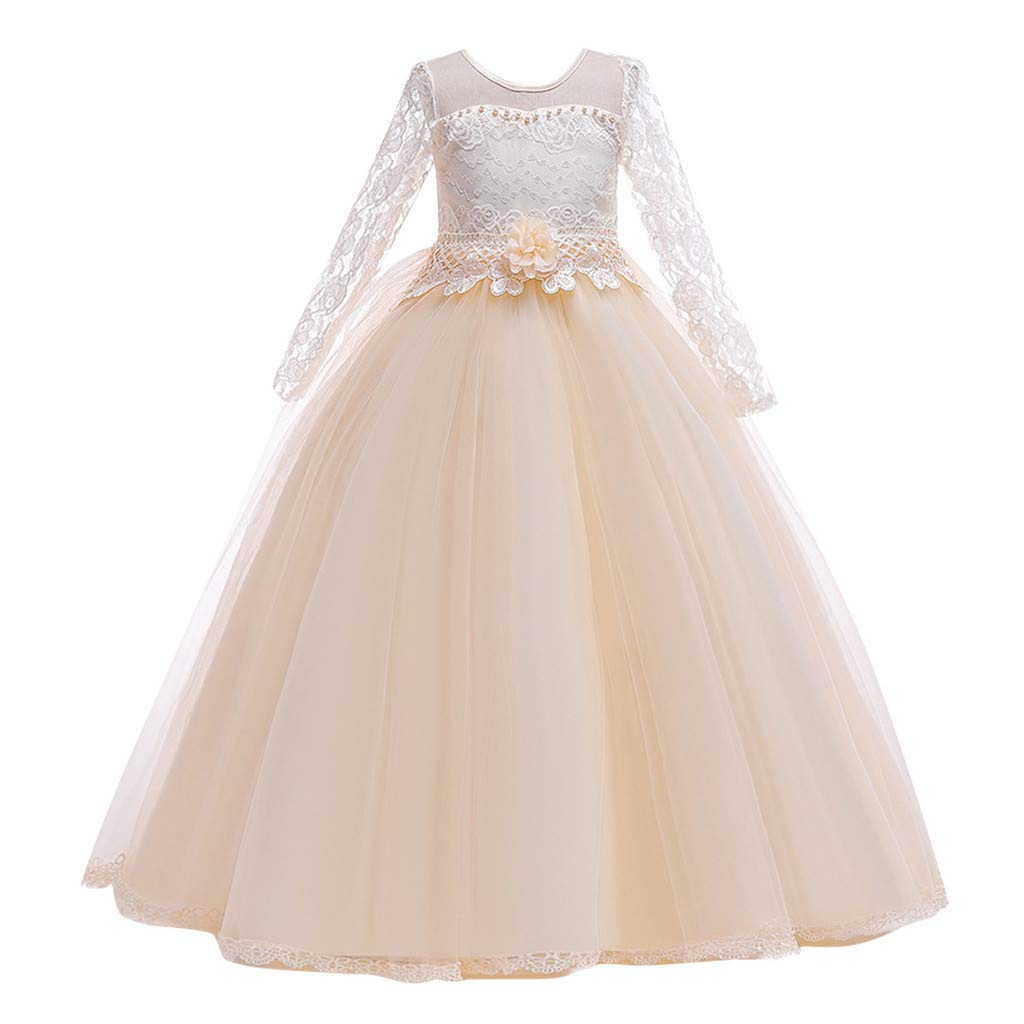 Sameno Kids Girls Embroidery Flower Princess Dress 5-14t Lace Tulle Pageant Party Wedding Formal Evening Maxi Ball Gown Beige by SamXmasBaby