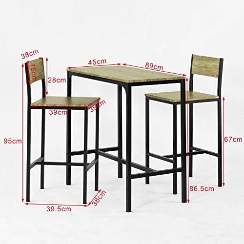 Facile da Montare in Stile Industriale IBUYKE Set di Tavolo da Bar con 2 Sgabelli da Bar,109 x 60 x 100 cm//40 x 30 x 65 cm Marrone Vintage TMJ054HH