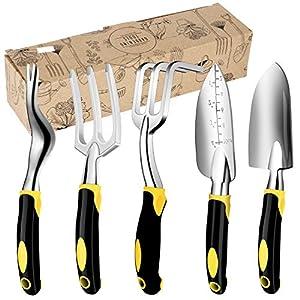 Discoball Garden Hand Tools Set with Garden Hand Fork Cultivator,Hand Trowel,Weeder,Weeding Fork, Ergonomic Transplanter(5PCS)