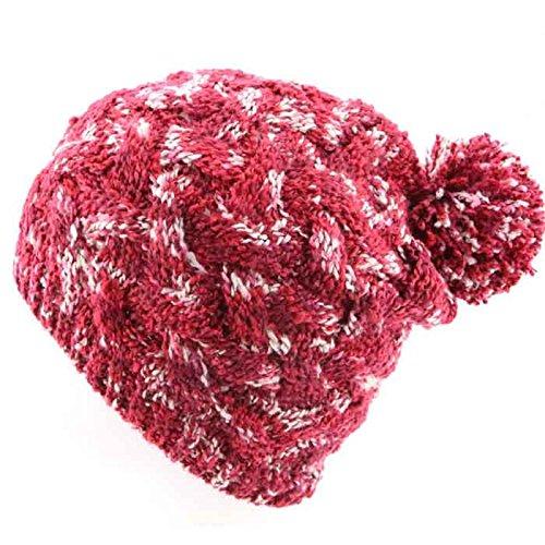 Maozi 1 con Las Knit Bola Sombrero Casco del del Moda Sombreros del señoras 2 Invierno la Americanas Hilado señoras Las rdrqYBxU