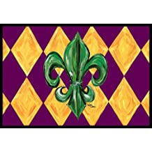 "Caroline's Treasures Mardi Gras Fleur De Lis Purple Green and Gold Indoor or Outdoor Mat, 24"" x 36"", Multicolor"