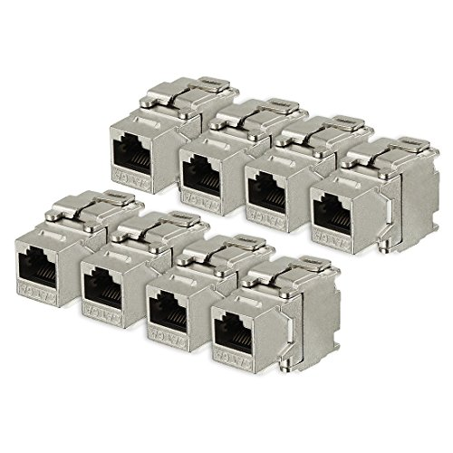 ZCHXD 8 Pack, 180 Degree Cat 6A RJ45 Ethernet Cable Keystone Jacks Metal Shielded in Silver