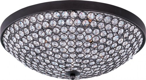 Maxim 39871BCBZ Glimmer 4-Light Flush Mount, Bronze Finish, Beveled Crystal Glass, G9 Xenon Xenon Bulb , 100W Max., Wet Safety Rating, Standard Dimmable, Glass Shade Material, 1150 Rated - Collection Glimmer