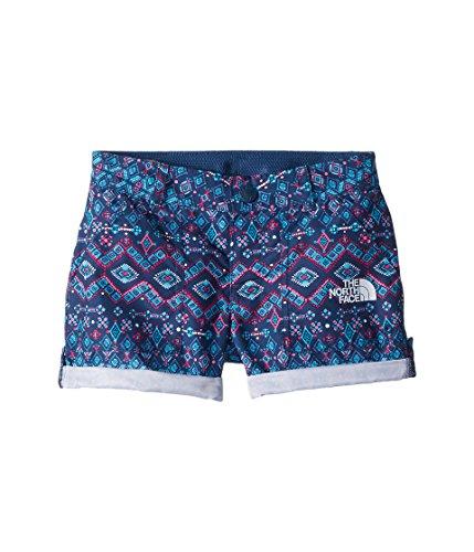 (The North Face Kids Girl's Amphibious Shorts (Little Kids/Big Kids) Blue Wing Teal Medallion Print/TNF White (Prior Season) X-Large)