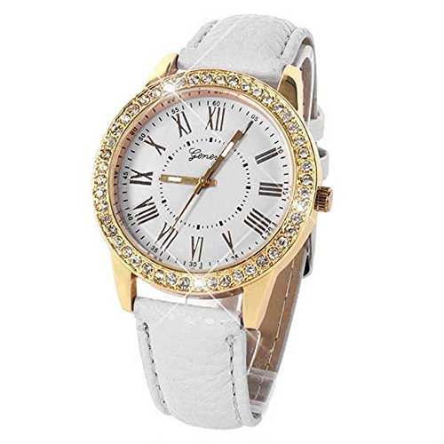NXDA Bling Gold Crystal Women Luxury Leather Strap Quartz Wrist Watch (White)