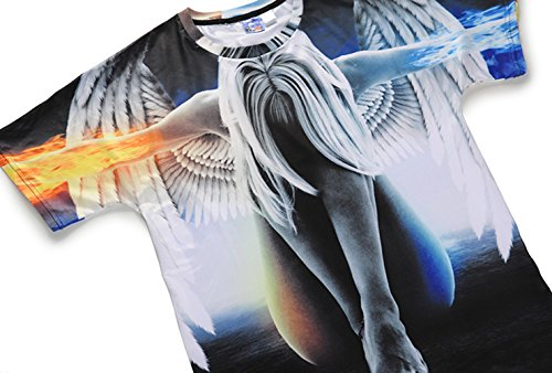 Camiseta Casuales Letra Corta Grande Hombre Manga Las Hombres Flojos Ángel Verano Huoduoduo 3d De Los Camisetas 6wAqx8Fp