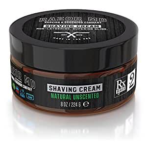Razor MD Rx Shave Cream, Natural Unscented (8 Oz, Sensitive Skin) - Shaving Tools & Accessories for the Modern Man