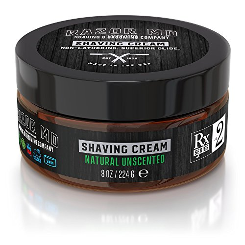 Razor MD Rx Shave Cream, Natural Unscented (8 Oz, Sensitive Skin) - Shaving Tools & Accessories for the Modern Man (The Art Of Shaving Cream Unscented)