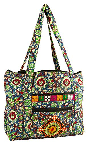 Women Large Tote Shoulder Bag Floral Quilted Travel Market Shopping School Camping Beach Laptop Grocery Diaper Everyday (Majestic Green Floral) - Floral Quilted Tote