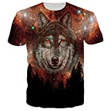 Loveternal Unisex Forest Wolf Tee Shirt 3D Pattern Printed Funny Casual Graphic Short Sleeve Tops Tees M
