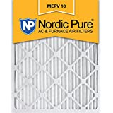 Nordic Pure 16x25x1 MERV 10 Pleated AC Furnace Air Filter,  Box of 12