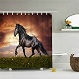 Wings A strong black horse shower curtain in the evening glow 3D printing - Waterproof, Mildew resistant, Machine Washable - Shower Hooks are Included